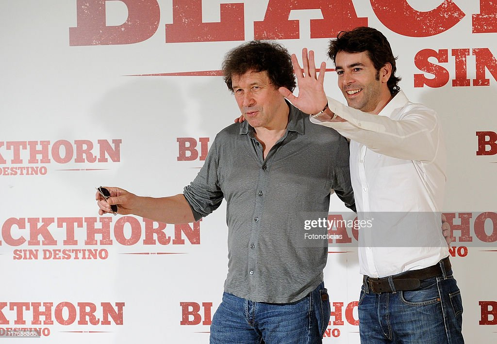 Actors Stephen Rea and Eduardo Noriega attend a photocall for 'Blackthorn Sin Destino' at Princesa Cinema on June 28 2011 in Madrid Spain
