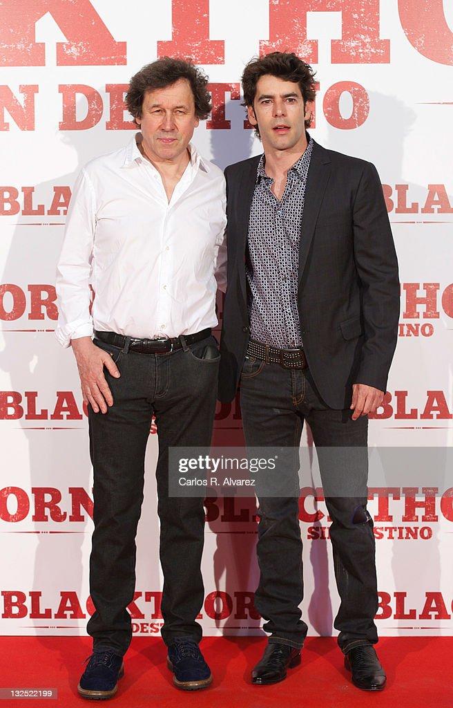 Actors Stephen Rea and Eduardo Noriega attend ''Blackthorn Sin Destino'' premiere at the Capitol cinema on June 29 2011 in Madrid Spain