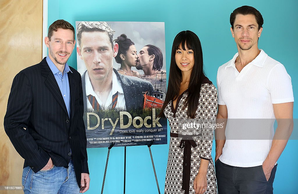 Actors Stephen Twardokus, Jen Oda, and Vincent Maggio attend Cinema Diverse: The Palm Springs Gay And Lesbian Film Festival Premiere Of 'Dry Dock' at Camelot Theatres on September 21, 2013 in Palm Springs, California.