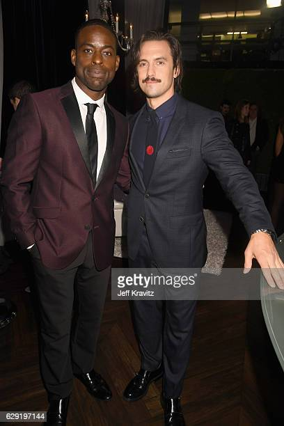 Actors Sterling K Brown and Milo Ventimiglia attend The 22nd Annual Critics' Choice Awards at Barker Hangar on December 11 2016 in Santa Monica...