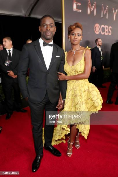 Actors Sterling K Brown and Ryan Michelle Bathe walk the red carpet during the 69th Annual Primetime Emmy Awards at Microsoft Theater on September 17...