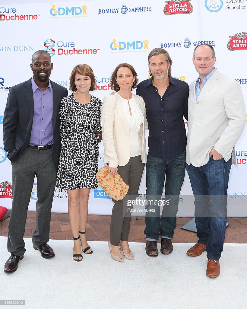 Actors Sterling K. Brown, Anna Belknap, <a gi-track='captionPersonalityLinkClicked' href=/galleries/search?phrase=Kelli+Williams&family=editorial&specificpeople=798660 ng-click='$event.stopPropagation()'>Kelli Williams</a>, <a gi-track='captionPersonalityLinkClicked' href=/galleries/search?phrase=Timothy+Olyphant&family=editorial&specificpeople=589275 ng-click='$event.stopPropagation()'>Timothy Olyphant</a> and <a gi-track='captionPersonalityLinkClicked' href=/galleries/search?phrase=Rich+Eisen&family=editorial&specificpeople=625704 ng-click='$event.stopPropagation()'>Rich Eisen</a> attend the 2013 Duchenne Gala at Sony Pictures Studios on May 11, 2013 in Culver City, California.