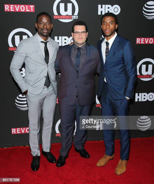 Actors Sterling K Brown Josh Gad and Chadwick Boseman attend the 21st Annual Urbanworld Film Festival at AMC Empire 25 theater on September 23 2017...