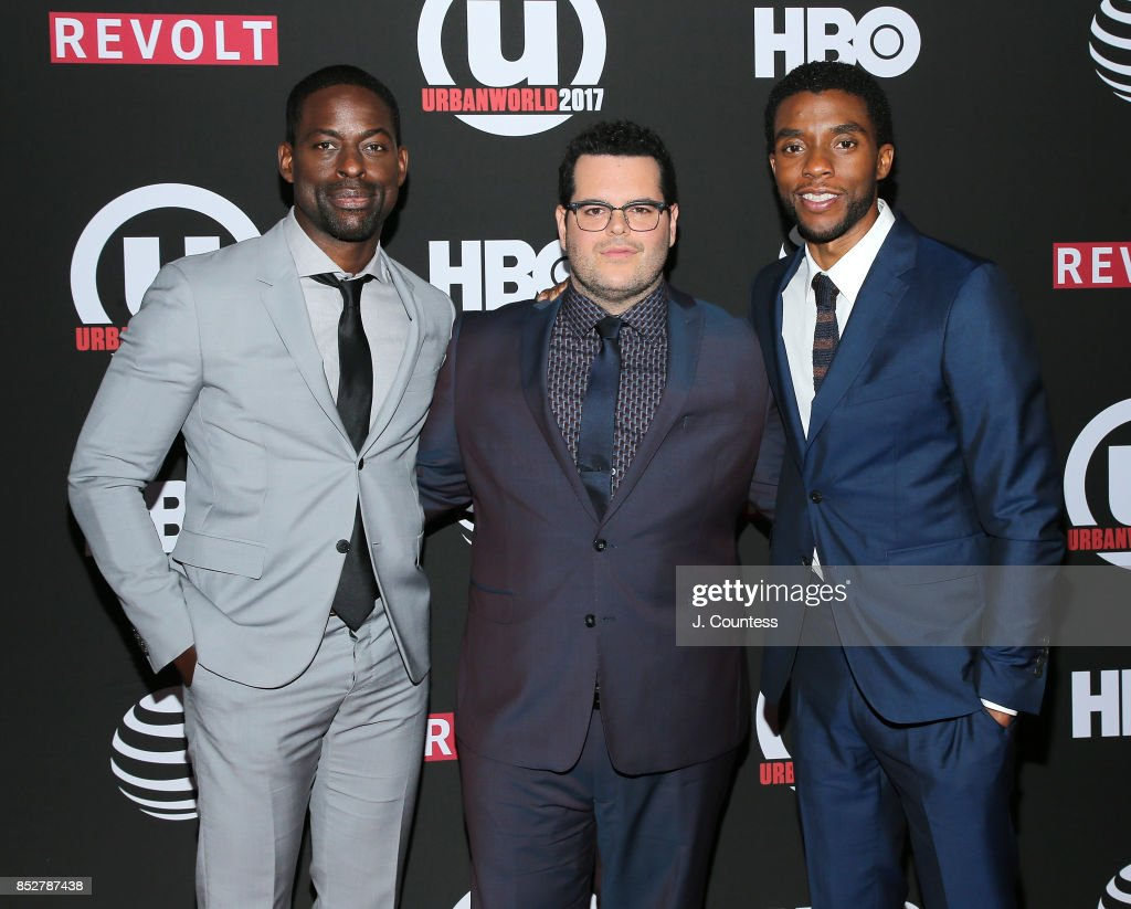 Actors Sterling K. Brown, Josh Gad and Chadwick Boseman attend the 21st Annual Urbanworld Film Festival at AMC Empire 25 theater on September 23, 2017 in New York City.