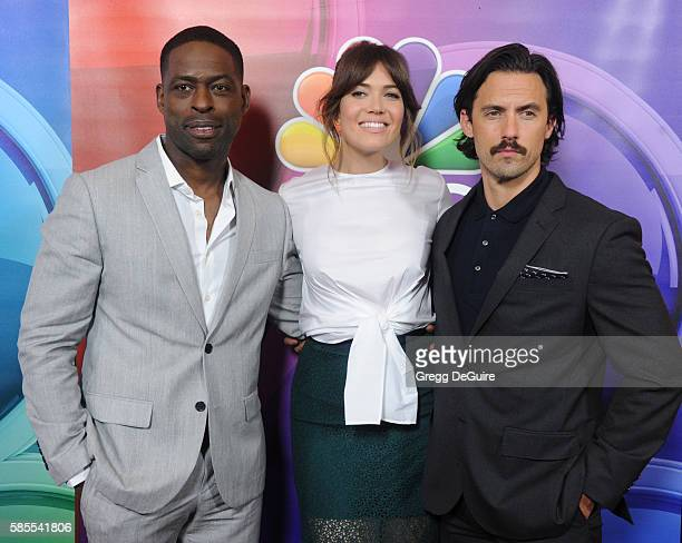 Actors Sterling K Brown Mandy Moore and Milo Ventimiglia arrive at the 2016 Summer TCA Tour NBCUniversal Press Tour Day 1 at The Beverly Hilton Hotel...