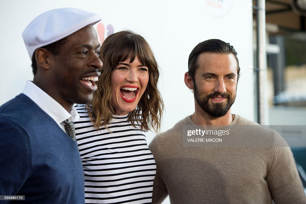 Actors Sterling K. Brown, Mandy Moore and Milo Ventimiglia attend the 2nd Red Nose Day Special on NBC, in Universal Studios, California, on May 26, 2016. / AFP / VALERIE