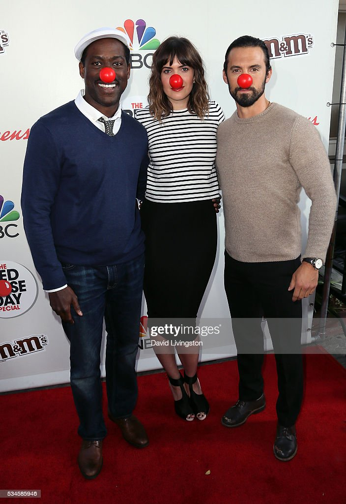 Actors Sterling K. Brown, <a gi-track='captionPersonalityLinkClicked' href=/galleries/search?phrase=Mandy+Moore+-+Singer+and+Actress&family=editorial&specificpeople=171637 ng-click='$event.stopPropagation()'>Mandy Moore</a> and <a gi-track='captionPersonalityLinkClicked' href=/galleries/search?phrase=Milo+Ventimiglia&family=editorial&specificpeople=743960 ng-click='$event.stopPropagation()'>Milo Ventimiglia</a> attend the Red Nose Day Special on NBC at the Alfred Hitchcock Theater at Alfred Hitchcock Theater at Universal Studios on May 26, 2016 in Universal City, California.