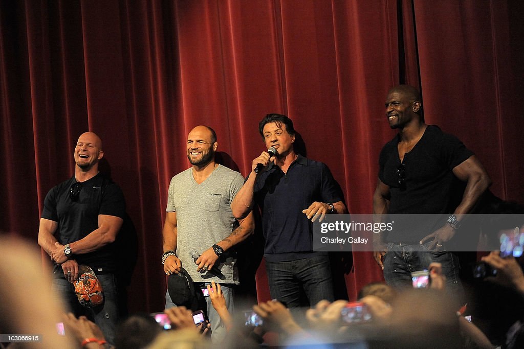 Actors Steve Austin, Randy Couture, Sylvester Stallone and Terry Crews attend a special screening of Lionsgate's 'The Expendables' at Camp Pendleton on July 23, 2010 in Oceanside, California.