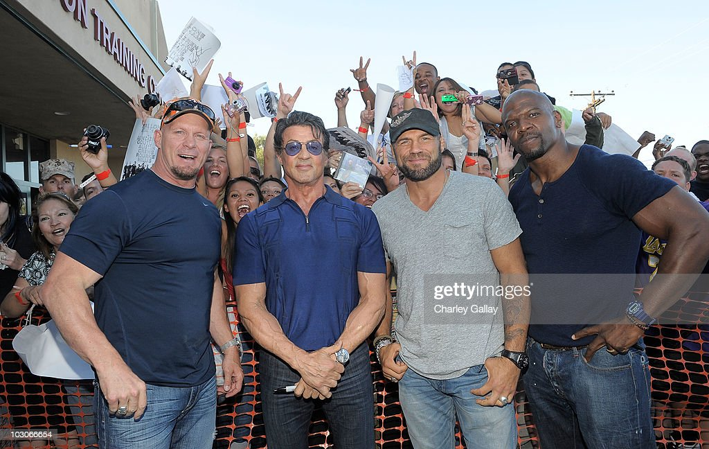 Actors Steve Austin, Sylvester Stallone, Randy Couture and Terry Crews attend a special screening of Lionsgate's 'The Expendables' at Camp Pendleton on July 23, 2010 in Oceanside, California.