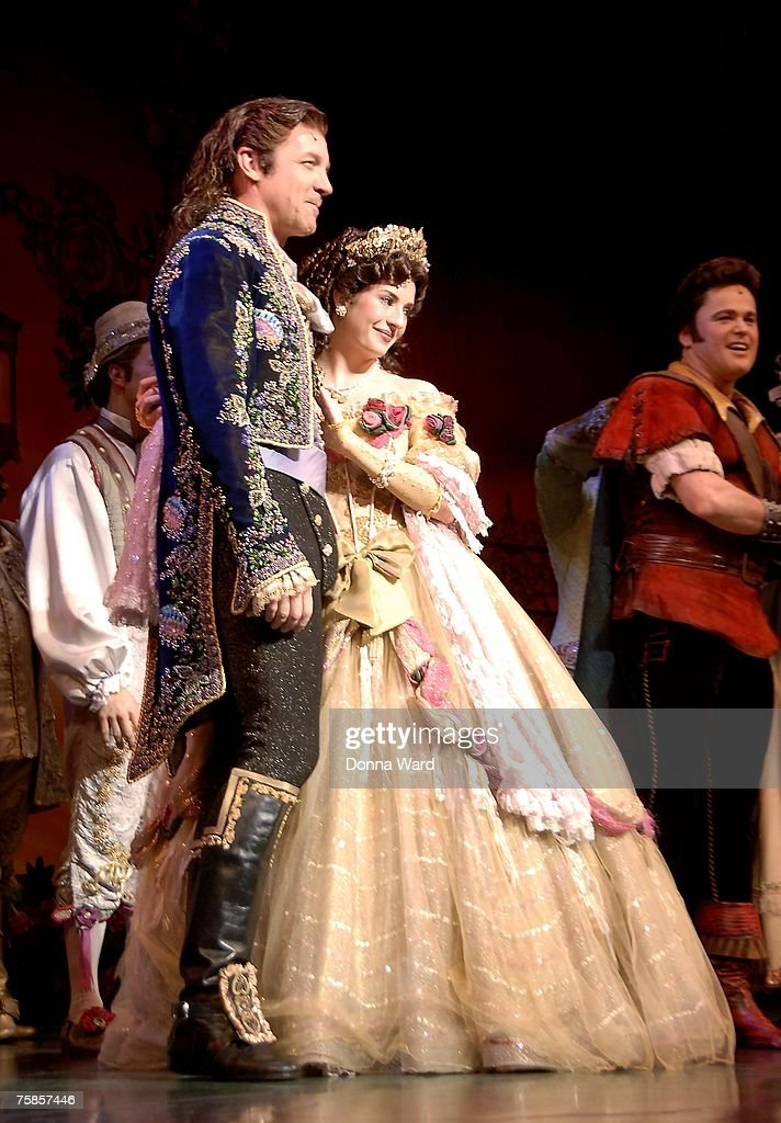 Actors Steve Blanchard and Anneliese van der Pol appear on stage during final curtain call of 'Beauty And The Beast' at the LuntFontanne Theatre on...