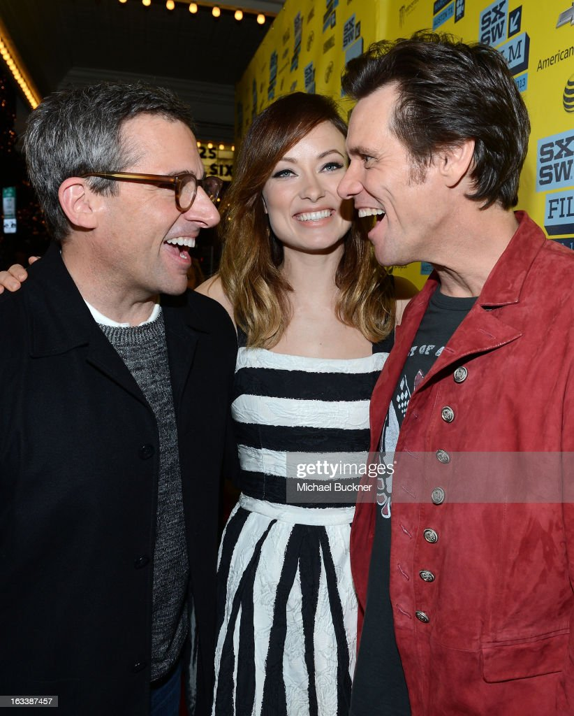Actors <a gi-track='captionPersonalityLinkClicked' href=/galleries/search?phrase=Steve+Carell&family=editorial&specificpeople=595491 ng-click='$event.stopPropagation()'>Steve Carell</a>, actress <a gi-track='captionPersonalityLinkClicked' href=/galleries/search?phrase=Olivia+Wilde&family=editorial&specificpeople=235399 ng-click='$event.stopPropagation()'>Olivia Wilde</a> and actor <a gi-track='captionPersonalityLinkClicked' href=/galleries/search?phrase=Jim+Carrey&family=editorial&specificpeople=171515 ng-click='$event.stopPropagation()'>Jim Carrey</a> arrive at the world premiere of 'The Incredible Burt Wonderstone' during the 2013 SXSW Music, Film + Interactive Festival at the Paramount Theatre on March 8, 2013 in Austin, Texas.