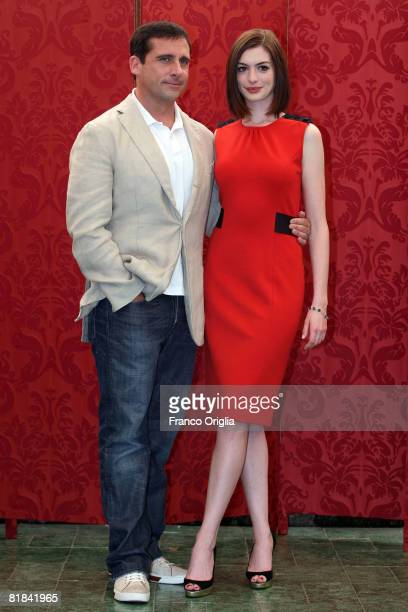 Actors Steve Carell and Anne Hathaway attends a photocall to promote the movie 'Get Smart' at Grand Hotel Hassler on July 7 2008 in Rome Italy