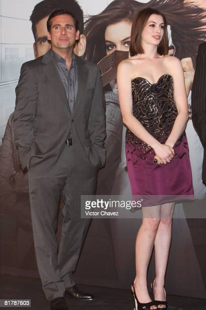Actors Steve Carell and Anne Hathaway attends the premiere of 'Get Smart' at the Cinemark Polanco on June 25 2008 in Mexico City