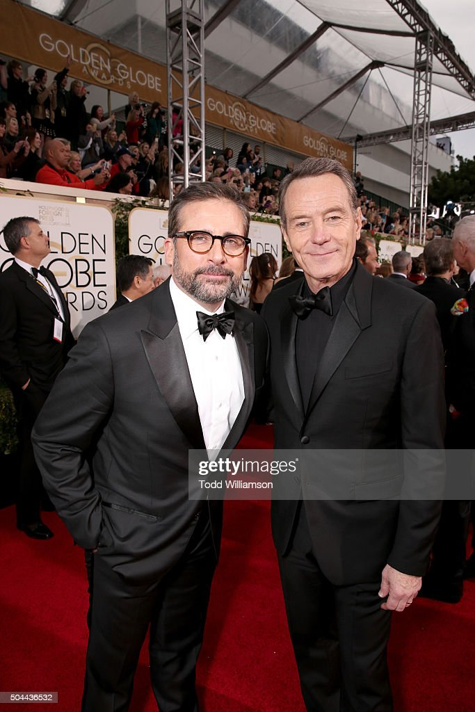 Actors Steve Carell (L) and Bryan Cranston attend the 73rd Annual Golden Globe Awards at The Beverly Hilton Hotel on January 10, 2016 in Beverly Hills, California.