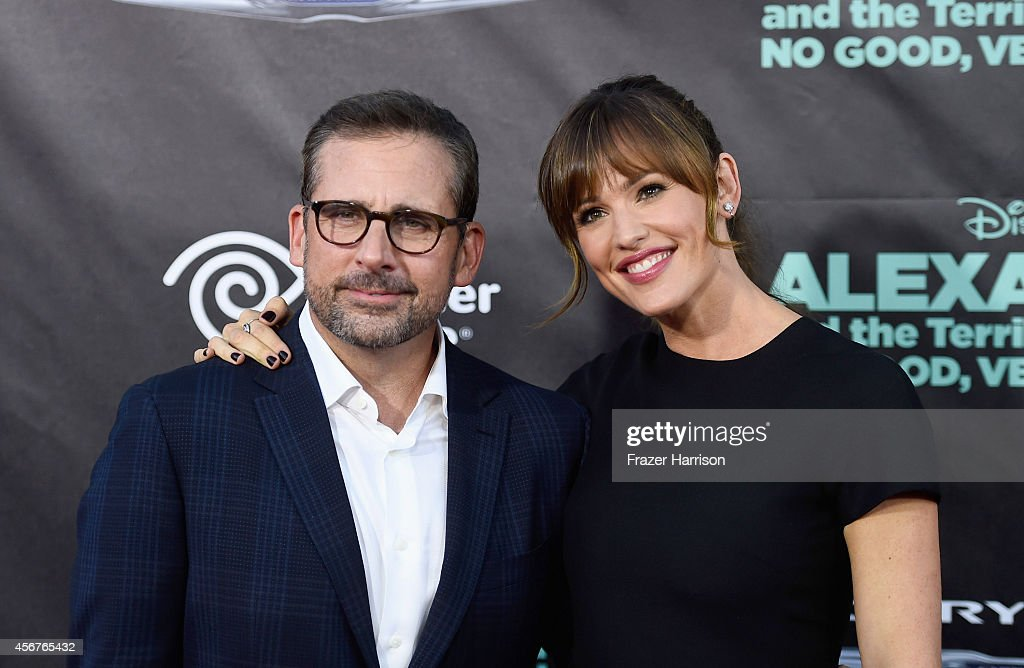 Actors Steve Carell and Jennifer Garner (R) attend the premiere of Disney's 'Alexander and the Terrible, Horrible, No Good, Very Bad Day' at the El Capitan Theatre on October 6, 2014 in Hollywood, California.