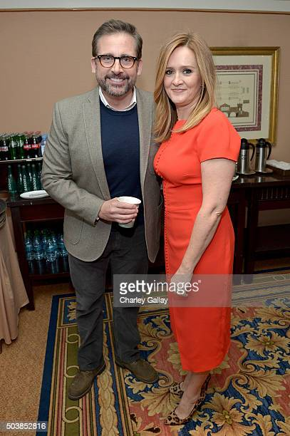 Actors Steve Carell and Samantha Bee attend the 2016 TCA Turner Winter Press Tour Presentation at the Langham Hotel on January 7 2016 in Pasadena...