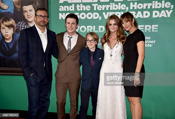 Actors Steve Carell Dylan Minnette Ed Oxenbould Kerris Dorsey and Jennifer Garner attend the premiere of Disney's 'Alexander and the Terrible...