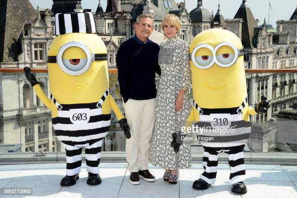 Actors Steve Carell Kristen Wiig and the Minions attend the 'Despicable Me 3' photocall at Corinthia Hotel London on June 21 2017 in London England