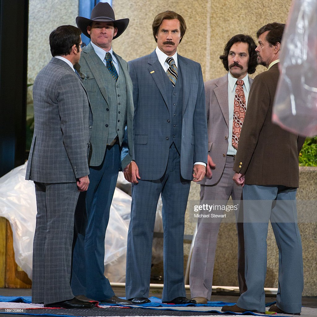 Actors Steve Carrell, David Koechner, Will Ferrell, Paul Rudd and Dylan Baker filming on location for 'Anchorman: The Legend Continues' on May 20, 2013 in New York City.