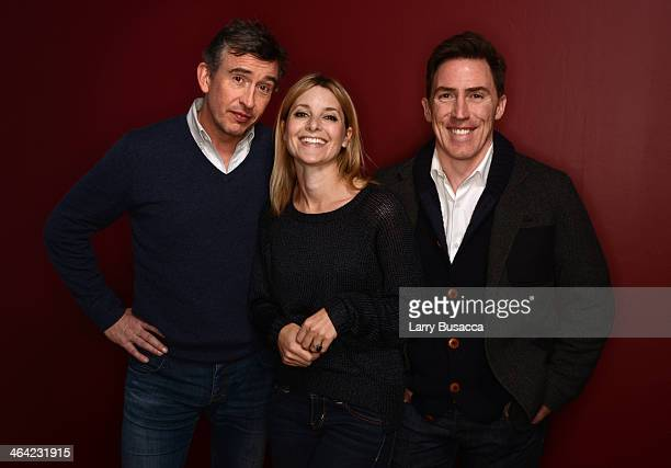 Actors Steve Coogan Rosie Fellner and Rob Brydon pose for a portrait during the 2014 Sundance Film Festival at the Getty Images Portrait Studio at...