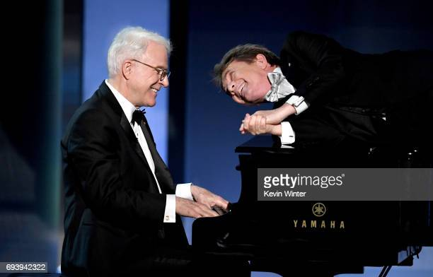 Actors Steve Martin and Martin Short perform onstage during American Film Institute's 45th Life Achievement Award Gala Tribute to Diane Keaton at...