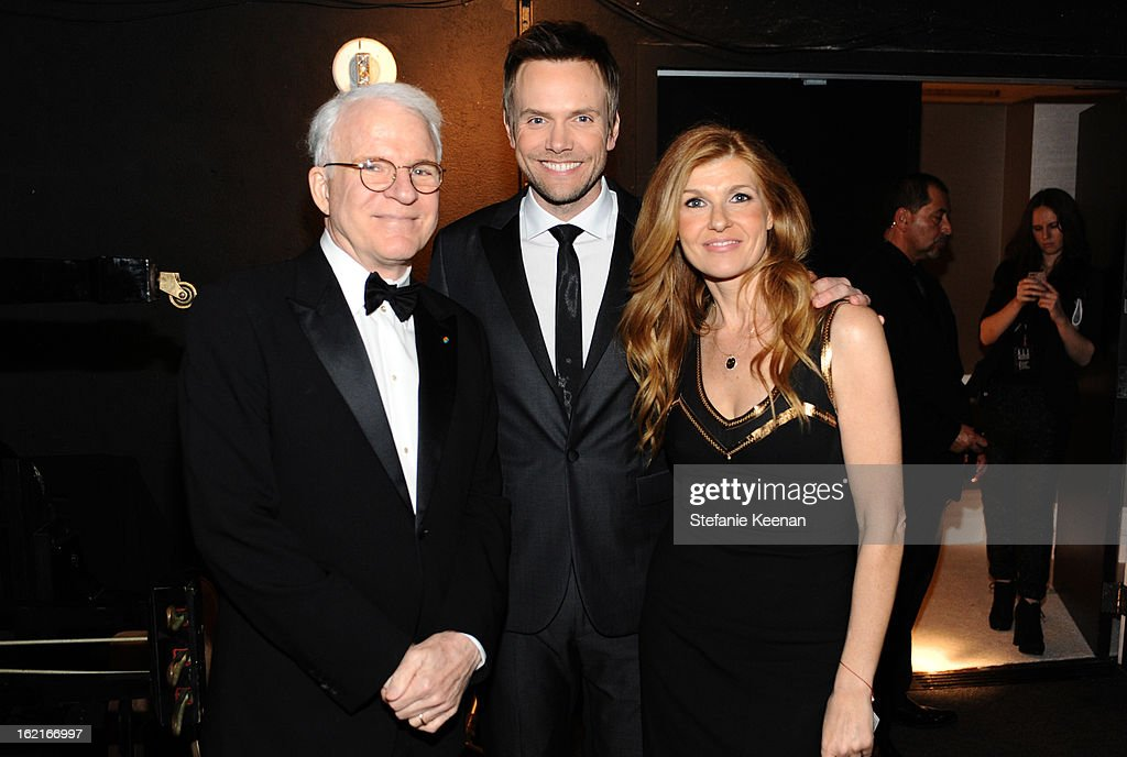 Actors <a gi-track='captionPersonalityLinkClicked' href=/galleries/search?phrase=Steve+Martin+-+Comedian&family=editorial&specificpeople=196544 ng-click='$event.stopPropagation()'>Steve Martin</a>, <a gi-track='captionPersonalityLinkClicked' href=/galleries/search?phrase=Joel+McHale&family=editorial&specificpeople=754384 ng-click='$event.stopPropagation()'>Joel McHale</a> and presenter <a gi-track='captionPersonalityLinkClicked' href=/galleries/search?phrase=Connie+Britton&family=editorial&specificpeople=234699 ng-click='$event.stopPropagation()'>Connie Britton</a> attend the 15th Annual Costume Designers Guild Awards with presenting sponsor Lacoste at The Beverly Hilton Hotel on February 19, 2013 in Beverly Hills, California.