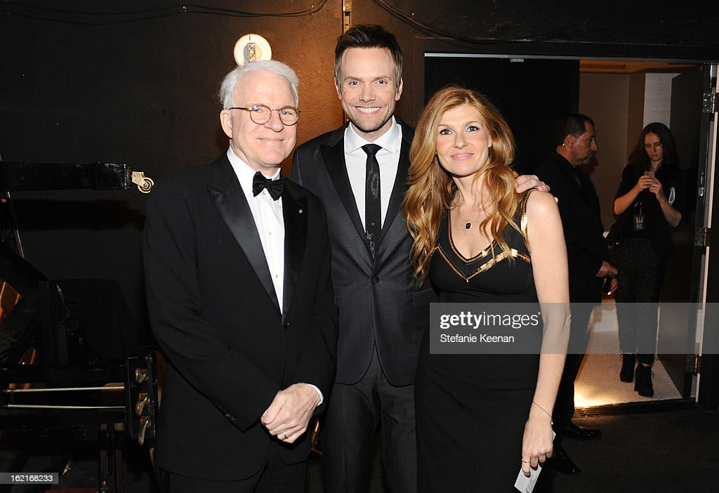 Actors Steve Martin, Joel McHale and presenter Connie Britton attend the 15th Annual Costume Designers Guild Awards with presenting sponsor Lacoste at The Beverly Hilton Hotel on February 19, 2013 in Beverly Hills, California.
