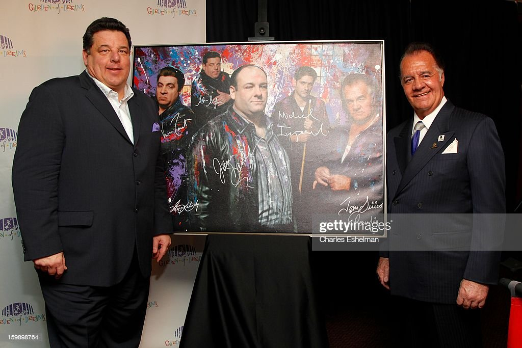 Actors <a gi-track='captionPersonalityLinkClicked' href=/galleries/search?phrase=Steve+Schirripa&family=editorial&specificpeople=213388 ng-click='$event.stopPropagation()'>Steve Schirripa</a> and <a gi-track='captionPersonalityLinkClicked' href=/galleries/search?phrase=Tony+Sirico&family=editorial&specificpeople=218067 ng-click='$event.stopPropagation()'>Tony Sirico</a> attend the Garden of Dreams Foundation press conference at Madison Square Garden on January 22, 2013 in New York City.