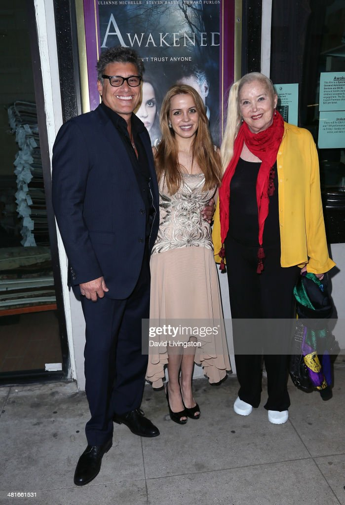 Actors <a gi-track='captionPersonalityLinkClicked' href=/galleries/search?phrase=Steven+Bauer&family=editorial&specificpeople=220736 ng-click='$event.stopPropagation()'>Steven Bauer</a>, Julianne Michelle and <a gi-track='captionPersonalityLinkClicked' href=/galleries/search?phrase=Sally+Kirkland&family=editorial&specificpeople=206468 ng-click='$event.stopPropagation()'>Sally Kirkland</a> attend the Los Angeles premiere of 'Awakened' at the Laemmle Music Hall on March 30, 2014 in Beverly Hills, California.