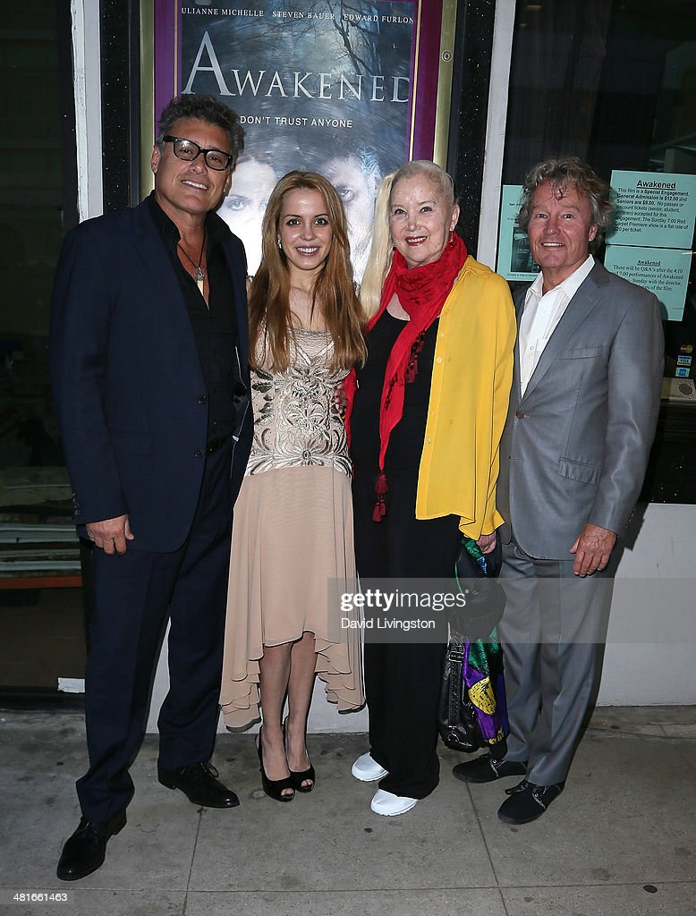 Actors <a gi-track='captionPersonalityLinkClicked' href=/galleries/search?phrase=Steven+Bauer&family=editorial&specificpeople=220736 ng-click='$event.stopPropagation()'>Steven Bauer</a>, Julianne Michelle, <a gi-track='captionPersonalityLinkClicked' href=/galleries/search?phrase=Sally+Kirkland&family=editorial&specificpeople=206468 ng-click='$event.stopPropagation()'>Sally Kirkland</a> and <a gi-track='captionPersonalityLinkClicked' href=/galleries/search?phrase=John+Savage+-+Actor&family=editorial&specificpeople=12658857 ng-click='$event.stopPropagation()'>John Savage</a> attend the Los Angeles premiere of 'Awakened' at the Laemmle Music Hall on March 30, 2014 in Beverly Hills, California.