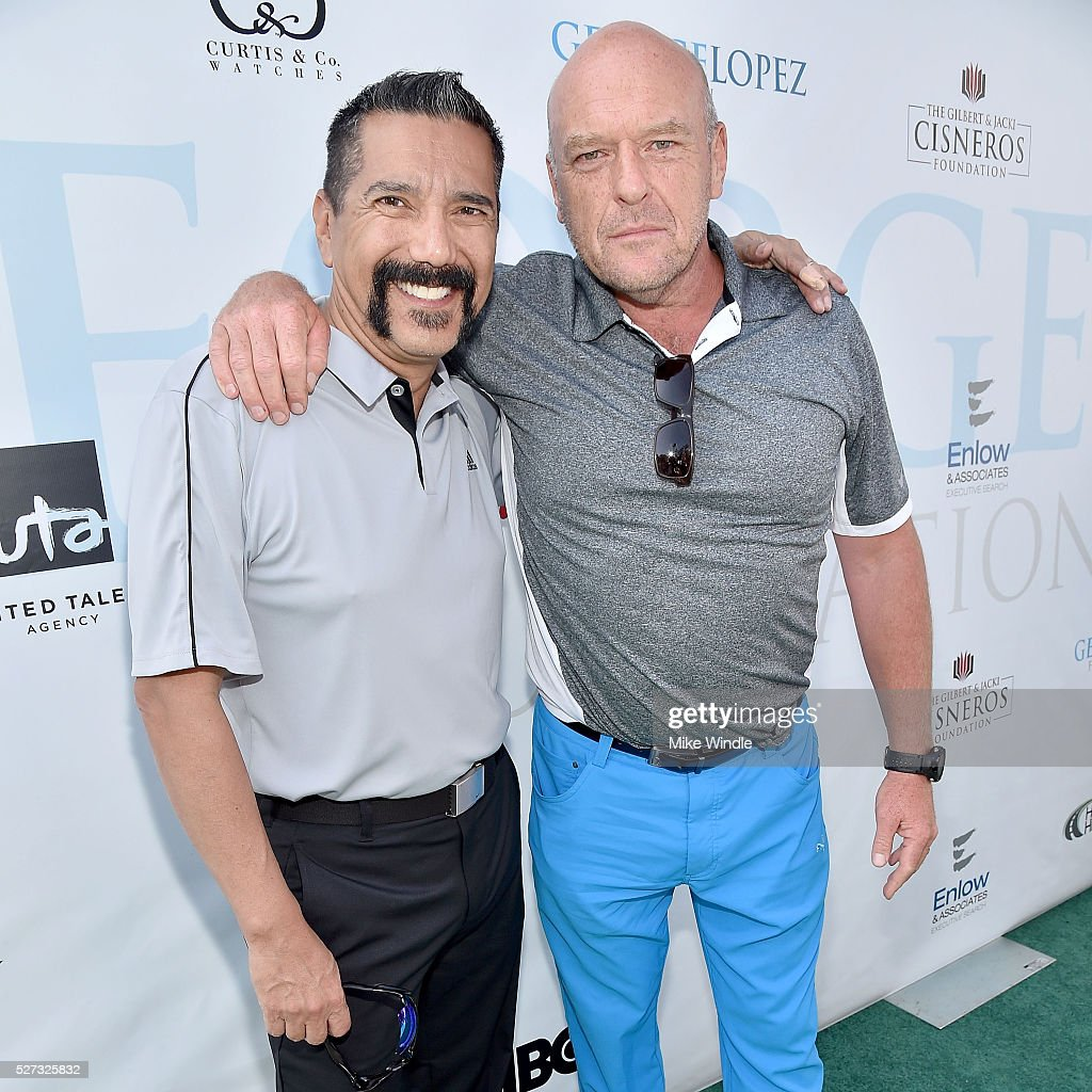 Actors Steven Michael Quezada and Dean Norris attend the 9th Annual George Lopez Celebrity Golf Classic to benefit The George Lopez Foundation at Lakeside Golf Club on May 2, 2016 in Burbank, California.