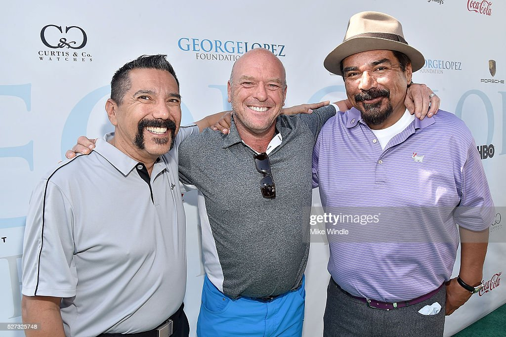 Actors Steven Michael Quezada, Dean Norris and George Lopez attend the 9th Annual George Lopez Celebrity Golf Classic to benefit The George Lopez Foundation at Lakeside Golf Club on May 2, 2016 in Burbank, California.