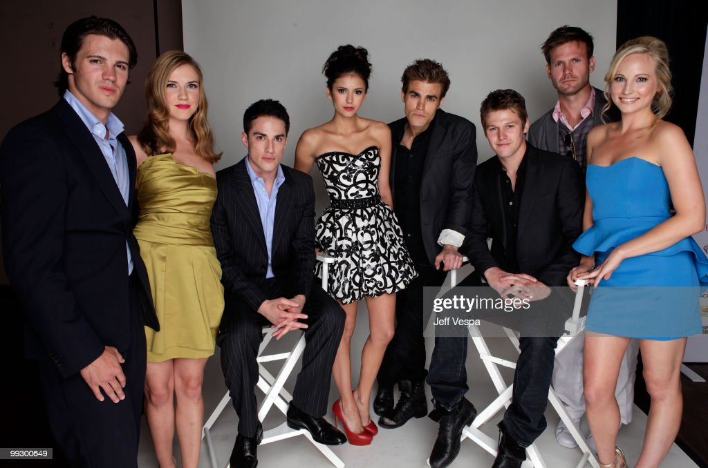 Actors Steven R McQueen Sara Canning Michael Trevino Nina Dobrev Paul Wesley Zach Roerig Matt Davis and Candice Accula pose for a portrait during the...