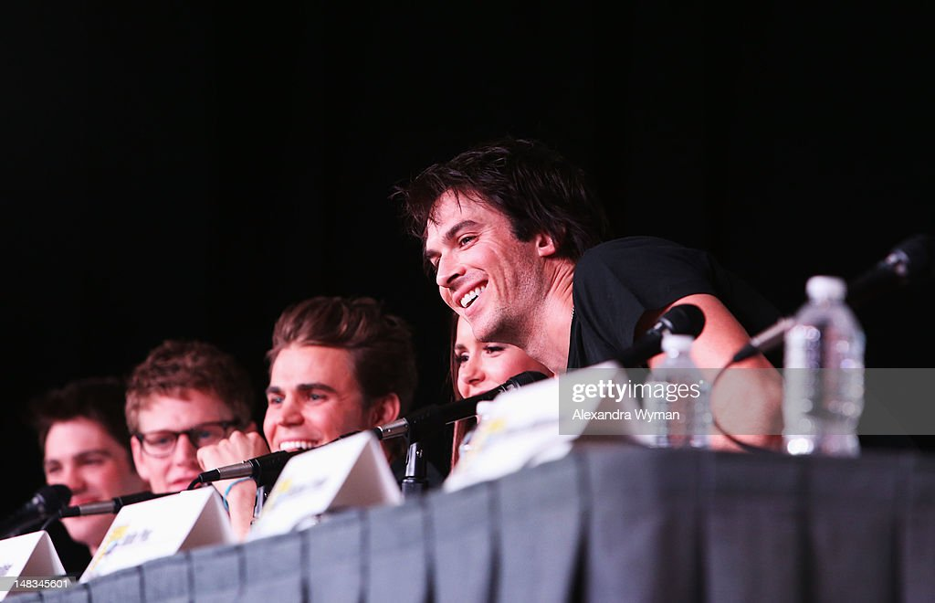 Actors Steven R. McQueen, Zach Roerig, Paul Wesley, Nina Dobrev, and Ian Somerhalder speak at 'The Vampire Diaries' screening during Comic-Con International 2012 at San Diego Convention Center on July 14, 2012 in San Diego, California.