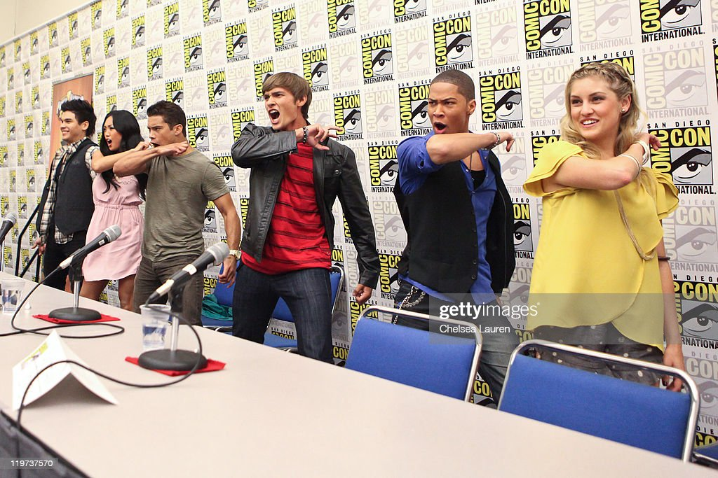 Actors Steven Skyler, Erika Fong, Hector David Jr., Alex Heartman, Najee De-Tiege and Brittany Anne Pirtle attend Saban's Samurai Power Rangers panel at the 2011 San Diego Comic-Con International on July 23, 2011 in San Diego, California.