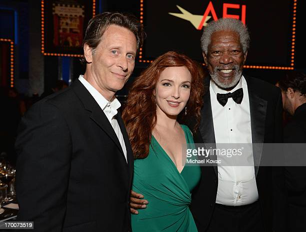 Actors Steven Weber Amy Yasbeck and Morgan Freeman attend 41st AFI Life Achievement Award Honoring Mel Brooks at Dolby Theatre on June 6 2013 in...