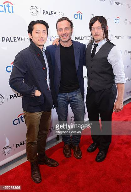 Actors Steven Yeun Andrew Lincoln and Norman Reedus attend The 2nd Annual Paleyfest New York Presents 'The Walking Dead' at Paley Center For Media on...
