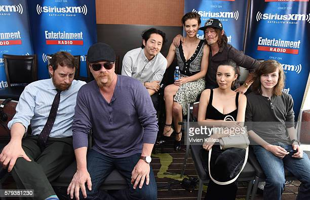 Actors Steven Yeun Lauren Cohan and Norman Reedus executive producer Scott M Gimple and actors Michael Cudlitz Christian Serratos and Chandler Riggs...