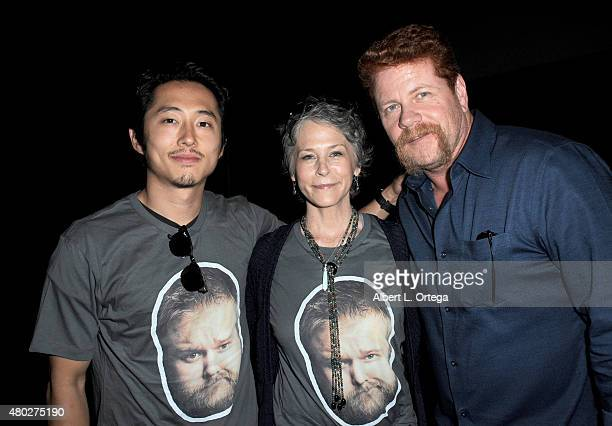 Actors Steven Yeun Melissa McBride and Michael Cudlitz attend AMC's 'The Walking Dead' panel during ComicCon International 2015 at the San Diego...