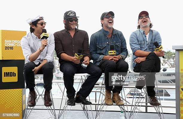 Actors Steven Yeun Norman Reedus Jeffrey Dean Morgan and Andrew Lincoln attend AMC at ComicCon on July 23 2016 in San Diego California