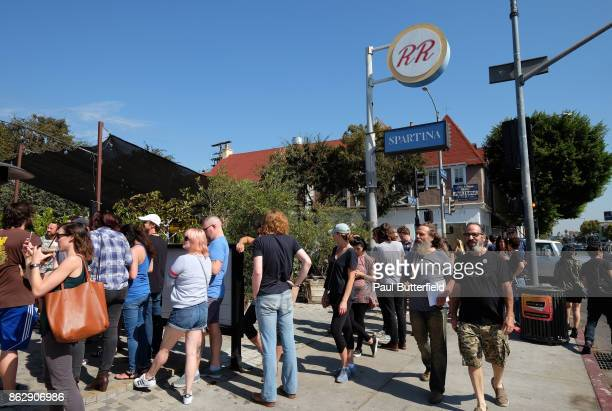 Actors Stewart Strauss and Christian Calloway talk with fans in line at Showtime's 'Twin Peaks' Double R Diner PopUp on Melrose Avenue on October 18...