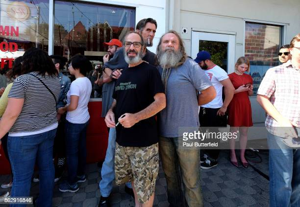 Actors Stewart Strauss Robert Broski and Christian Calloway at Showtime's 'Twin Peaks' Double R Diner PopUp on Melrose Avenue on October 18 2017 in...