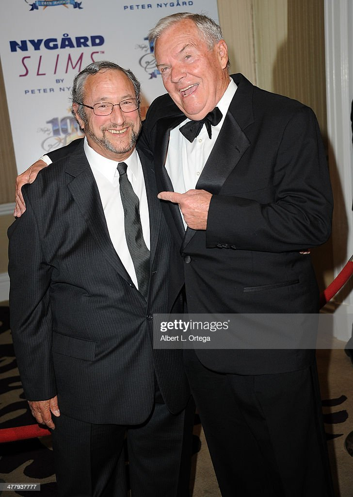 Actors Stuart Pankin and Peter Jason arrive for Norby Walters' 24nd Annual Night Of 100 Stars Oscar Viewing Gala held at Beverly Hills Hotel on March 2, 2014 in Beverly Hills, California.