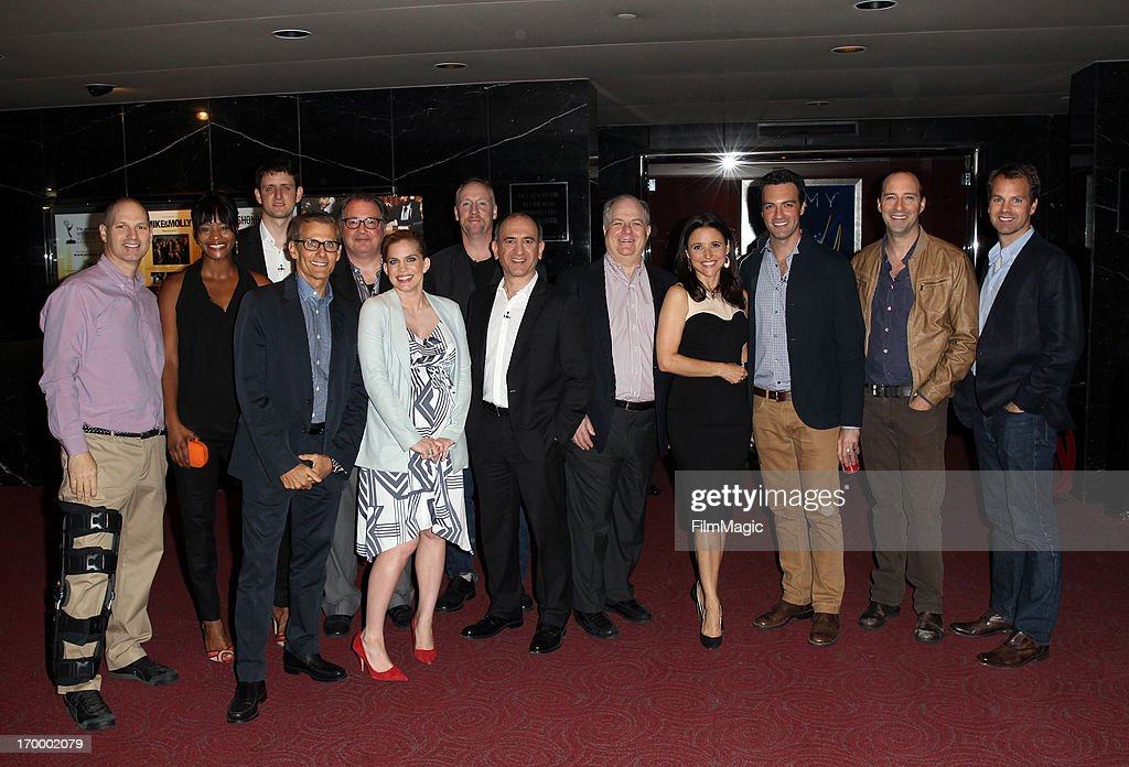 Actors Sufe Bradshaw, Zach Woods, President of the Programming Group and West Coast Operations at HBO Michael Lombardo, actors Kevin Dunn, Anna Chlumsky, Matt Walsh, writer/director/producer Armando Iannucci, executive producer Frank Rich, producer/actor Julia Louis-Dreyfus, actors Reid Scott, Tony Hale, and senior vice president, HBO Entertainment, for Home Box Office Casey Bloys attend HBO's 'VEEP' screening and panel at the Leonard H. Goldenson Theatre at the Academy of Television Arts & Sciences on June 5, 2013 in North Hollywood, California.