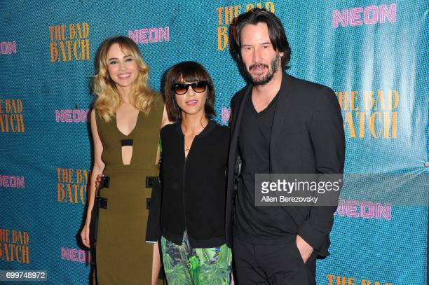 Actors Suki Waterhouse Ana Lily Amirpour and Keanu Reeves attend Premiere Of Neon's 'The Bad Batch' at Resident on June 19 2017 in Los Angeles...