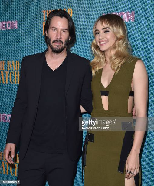 Actors Suki Waterhouse and Keanu Reeves arrive at the premiere of Neon's 'The Bad Batch' at Resident on June 19 2017 in Los Angeles California