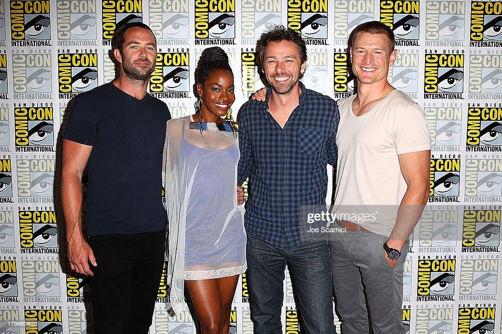 Actors Sullivan Stapleton, Milauna Jackson, Director Michael Bassett and Phillip Winchester attend the Strike back press line at Comic-Con International 2013 - Day 1 on July 18, 2013 in San Diego, California.