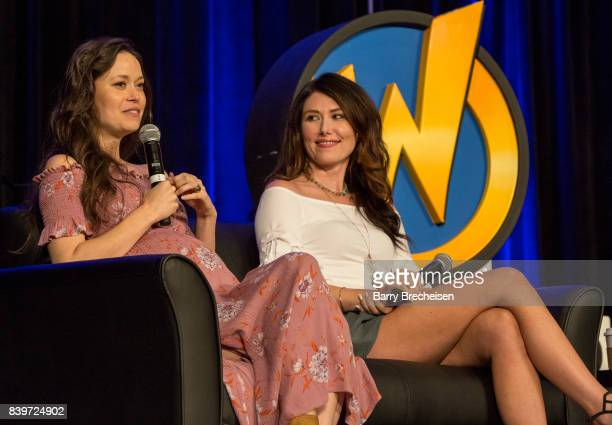 Actors Summer Glau and Jewel Staite during the Wizard World Chicago ComicCon at Donald E Stephens Convention Center on August 26 2017 in Rosemont...