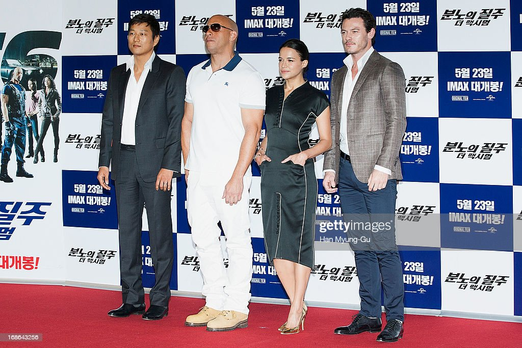 Actors <a gi-track='captionPersonalityLinkClicked' href=/galleries/search?phrase=Sung+Kang+-+Actor&family=editorial&specificpeople=2582012 ng-click='$event.stopPropagation()'>Sung Kang</a>, <a gi-track='captionPersonalityLinkClicked' href=/galleries/search?phrase=Vin+Diesel&family=editorial&specificpeople=171983 ng-click='$event.stopPropagation()'>Vin Diesel</a>, <a gi-track='captionPersonalityLinkClicked' href=/galleries/search?phrase=Michelle+Rodriguez&family=editorial&specificpeople=206182 ng-click='$event.stopPropagation()'>Michelle Rodriguez</a> and Luke Evans attend the 'Fast & Furious 6' press conference on May 13, 2013 in Seoul, South Korea.
