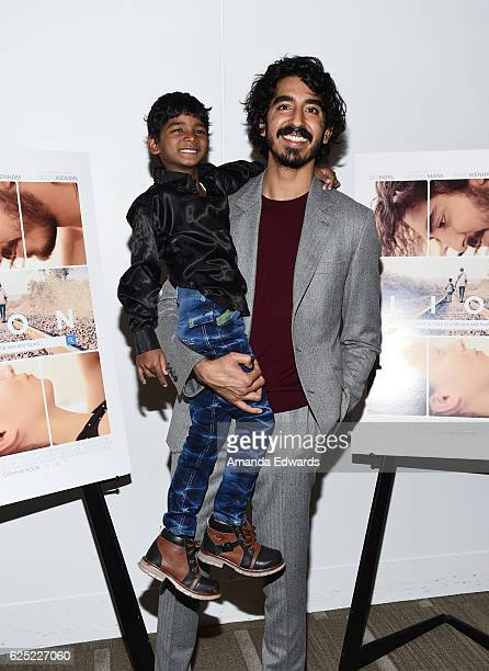 Actors Sunny Pawar and Dev Patel attend a special Los Angeles screening of The Weinstein Co's 'Lion' at the Samuel Goldwyn Theater on November 22...